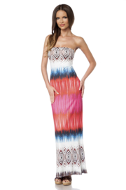 Trendy Maxi-Dress in blauw/wit/rood, Maten S, M, L OP=OP !