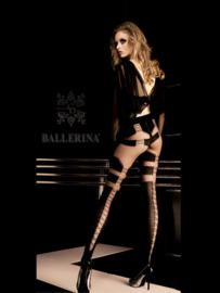 BALLERINA Sexy heel aparte zwarte panty met veters, Maat S/M en L/XL
