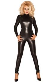 Noir Handmade zwarte wetlook catsuit Maten S t/m 6XL
