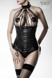 GREY VELVET Exclusieve zwarte onderborst-corsage-set, maten: S, M, L, XL, 2XL, 3XL!