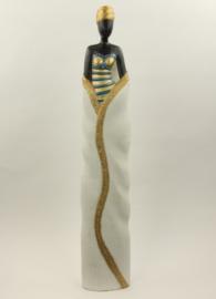 Prachtig houten beeld LADY 80 cm hoog! Goud / Blauw