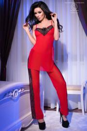 CHILIROSE Aparte set in rood met zwart. Te dragen als pyjama of spannend huispak! Maten: S/M en L/XL
