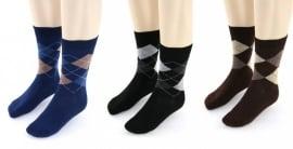 YVES DORSEY heren sokken ruit, 3 paar,  blauw/zwart/bruin, 39/42 en 43/46!