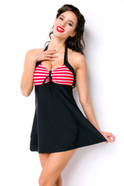 Swimdress in Retro-Look, Zwart met Rood/Wit, Maten: 2XL en 3XL OP=OP !!!
