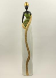 Prachtig houten beeld LADY 80 cm hoog! Goud / Groen