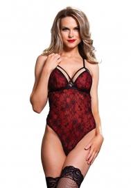 LEG AVENUE Sexy body met overlay kant, rood/zwart SM en M/L