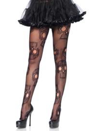 LEG AVENUE Sugar Skull net panty met versterkte teen, One Size