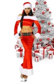 CHRISTMAS Rok en Topje van fluweel en bont + extra`s ! Maat: One Size