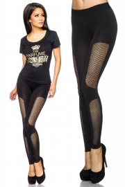 Zwarte legging met inzetten van netstof, Maat One Size fits the most (S-L)