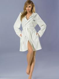 L&L Kort wit badjasje met grijze details en 2 grijze bunny's met bling! S, M, L en XL