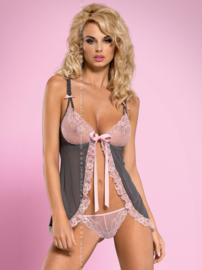 OBSESSIVE Babydoll in roze met grijs DOVELIA,  laatste in maat S/M en L/XL