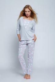 SENSIS Dunnere grijze pyjama met hippe roze veertjes print, Maten: S, M, L en XL