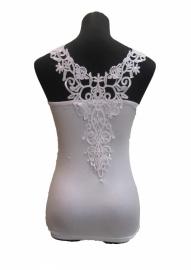 Skinfashion Dames-Onderhemd met prachtig kant, S, M, L en XL, Wit en Zwart