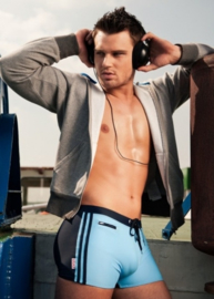 ALPHA MALE STYLO MORO Zwemboxer in lichtblauw met donkerblauw, S, M, XXL