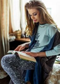 KEY Heerlijk comfortabele DamesPyjama Petrol Maat XS, S, M en L