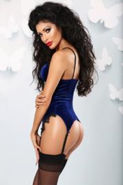 LOLITTA Fluweelzacht, koningsblauw corselet, maat S/M en L/XL