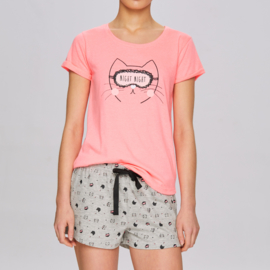 ATLANTIC Dames zomer pyjama / shortama Pink Kitty.  S, M, L, XL 2XL