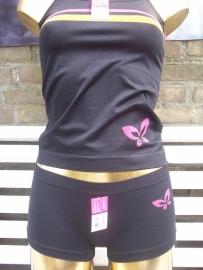 WOMEN Microfibre hemdsetje Zwart Maat One Size (S,M,L).