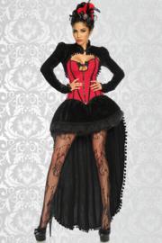 Burlesque-Kostuum in Rood met Zwart, Maat: XXL/2XL