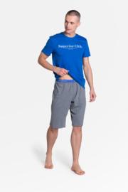 HENDERSON Sportieve heren zomerpyjama, bermuda + shirt, Blauw met grijs, M, L, XL en XXL