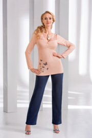 DONNA Elegante pyjama DOROTHY Zalm en Blauw met Vlinder-Dessin,, Maten: S, M, L, XL, 2XL, 3XL