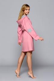 """L&L Collection roze badmantel """"STAR"""" met capuchon. Verkrijgbaar in de maten: S, M, L en XL."""