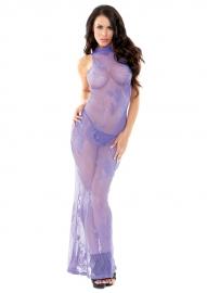 FANTASY exclusieve, verleidelijke lange, kanten lila jurk, maat S/M en M/L