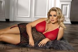 ANAIS YAMMY Plus Size Corselet in sexy rood met zwart kant in de maten L, XL en XXL