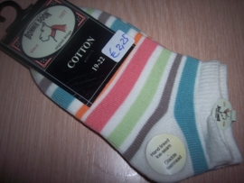 Bonnie Doon Sneakersokken Ecru multicolours streep Maat 19-22