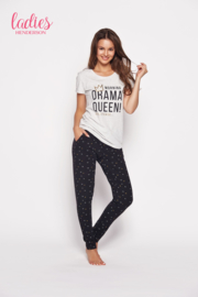 HENDERSON LADIES Wit/Zwarte pyjama GIA, met tekst Drama Queen, Maten: S, M, L en XL
