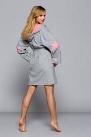 """L&L Collection grijze badmantel """"STAR"""" met capuchon. Verkrijgbaar in de maten: S, M, L en XL."""