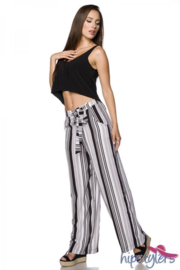 HIPSTYLERS trendy broek STRIPES in zwart/wit/grijs, Maat XS, S, M en L