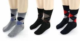 YVES DORSEY heren sokken ruit, 3 paar, grijs/zwart/marine, 39/42 en 43/46!