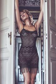 ANAIS APPAREL Ibiza Style negligé in zwart met leuke franjes, maten: m, l, xl, 2xl, 3xl