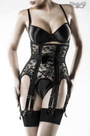 GREY VELVET 3-delige zwarte onderborst-corsage-set, maten: S, M, L, XL, 2XL, 3XL!