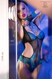 CHILIROSE Sexy body in zwart met turquoise, in S, M, L en XL