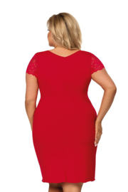 DONNA Elegant nachthemd in rood met luxe kant, 3XL, 4XL, 5XL en 6XL