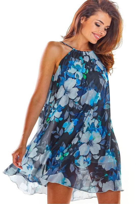 AWAMA Fashion for Women Trendy Zomerjurkje Blauw, maat S/M en L/XL