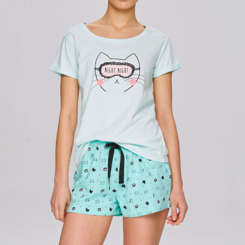 ATLANTIC Dames zomer pyjama / shortama Mintgroen Kitty.  S, M, L, XL 2XL