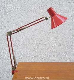 Architectenlamp rood klemlamp