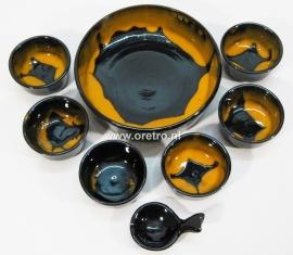 Pindaset keramiek zwart en oker