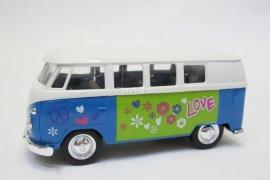 Modelauto VW bus T1 blauw Hippie  1:34