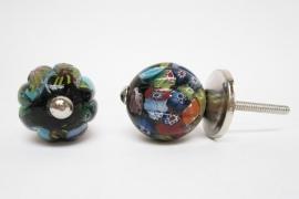 Ladeknop glas multicolor