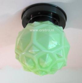Plafondlamp glas art deco groen