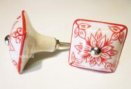 Ladeknop vierkant rode bloem