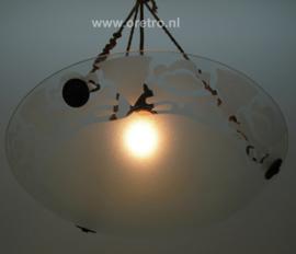 Hanglamp glasschaal mat aan 3 touwen