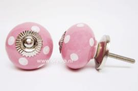 Ladeknop roze met stippen