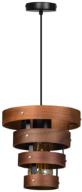 Hanglamp Walnut 4 rings hout