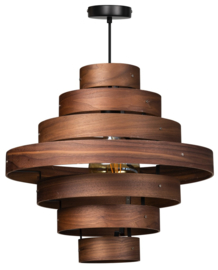 Hanglamp Walnut 7 rings hout