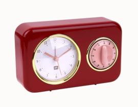 Tafelklok met timer Nostalgia rood